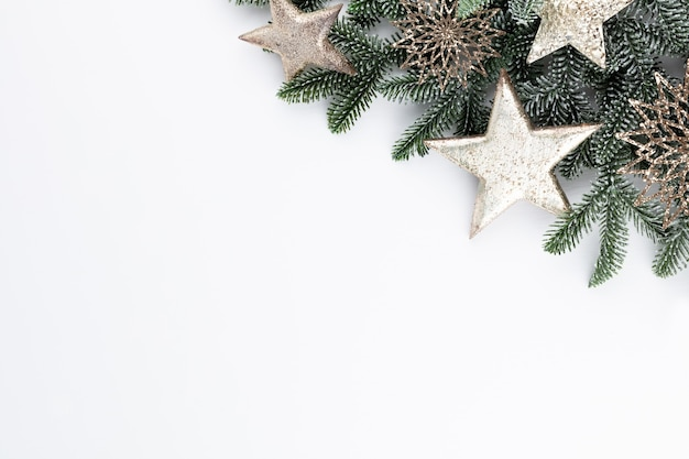 Christmas composition fir tree branches on white