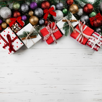 Christmas composition of gift boxes and baubles