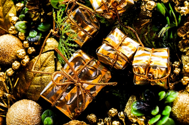 Christmas composition gifts bumps and fir-tree