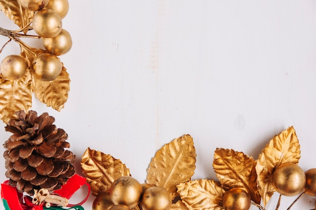 Christmas composition of gold berries