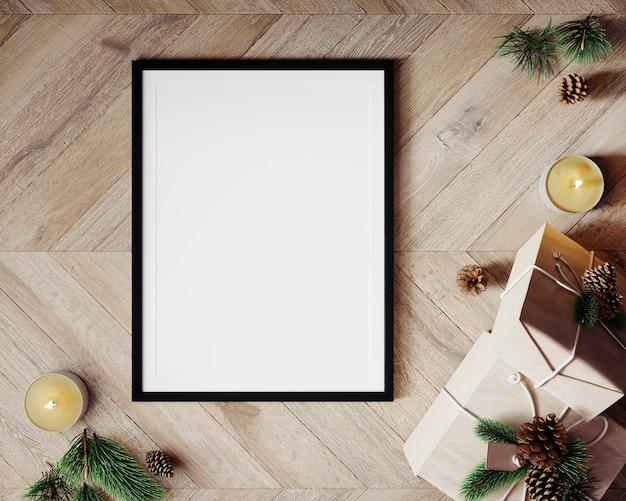 Рождественский макет композиции. подарочная коробка, свечи, рождественские украшения на деревянном фоне. плоская планировка, вид сверху, 3d визуализация