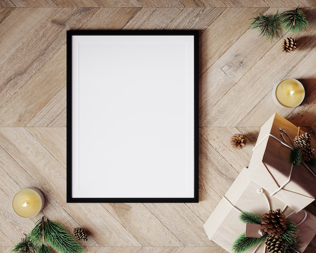Christmas composition mockup. gift box, candles, christmas decorations on wood background. flat lay, top view, 3d render