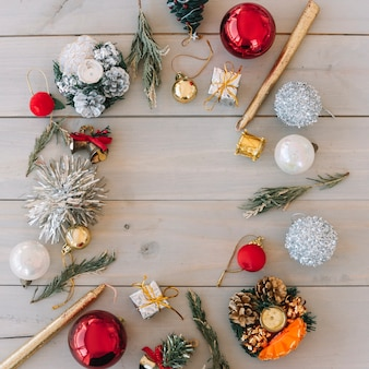 Christmas composition of baubles with candles