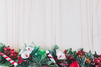 Christmas composition of fir tree branches with flowers