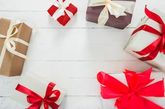 Christmas composition of various gift boxes