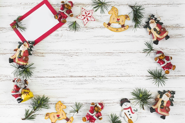 Christmas composition of paper with toys