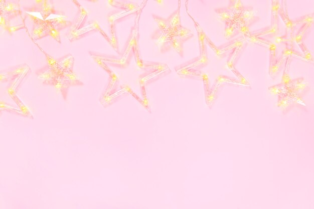 Christmas composition on pink