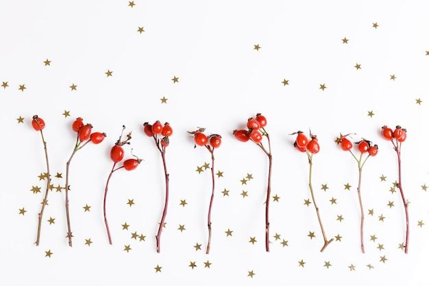 Новогодняя композиция. красные ягоды шиповника на белом фоне и золотые звезды. рождество, новый год, зимняя концепция. плоская планировка, вид сверху, копия пространства