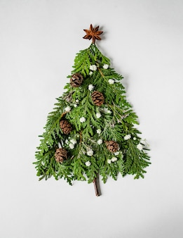 Christmas composition in shape of christmas tree with branches of thuja, flowers and cones. flat lay