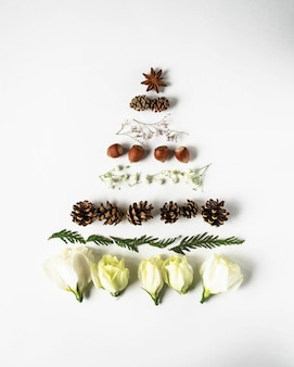 Christmas composition in shape of christmas tree with branches of thuja, flowers, nuts and cones. flat lay