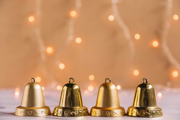 Christmas composition of small metallic bells