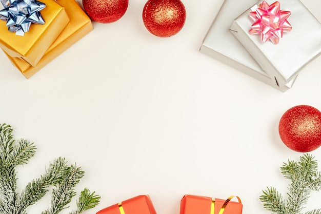 Christmas composition of various gift boxes wrapped in bright paper
