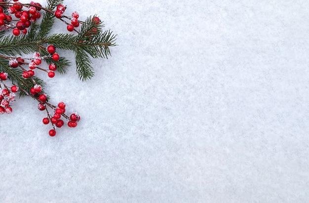 クリスマスの構成冬のフラットレイ新年のコンセプト上面図コピースペース休日の挨拶