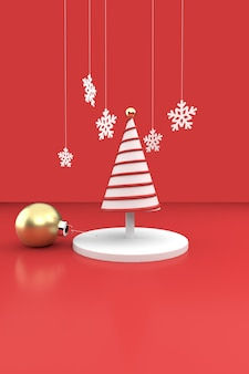 Christmas composition with abstract christmas tree and ornaments