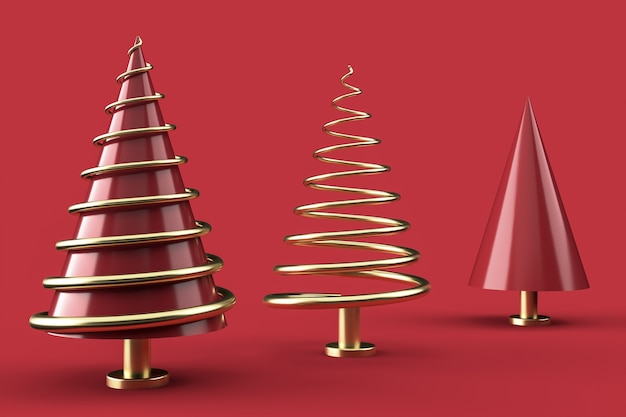 Christmas composition with abstract christmas trees