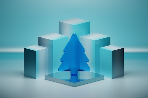 Christmas composition with blue glass transparent tree on mirror pedestal on blue surface