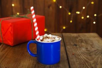 Christmas composition with coffee and gift box