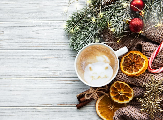 Christmas composition with coffee and decorations