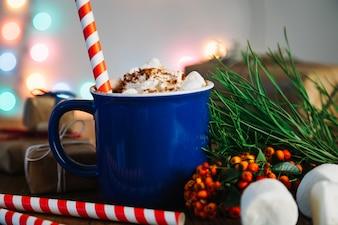 Christmas composition with coffee mug
