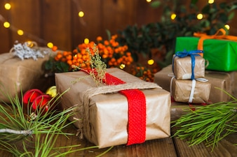 Christmas composition with different gift boxes
