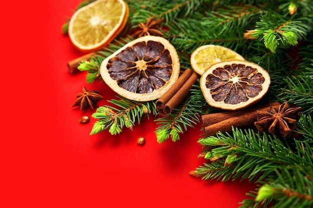 Christmas composition with dry oranges, spices and fir tree branches