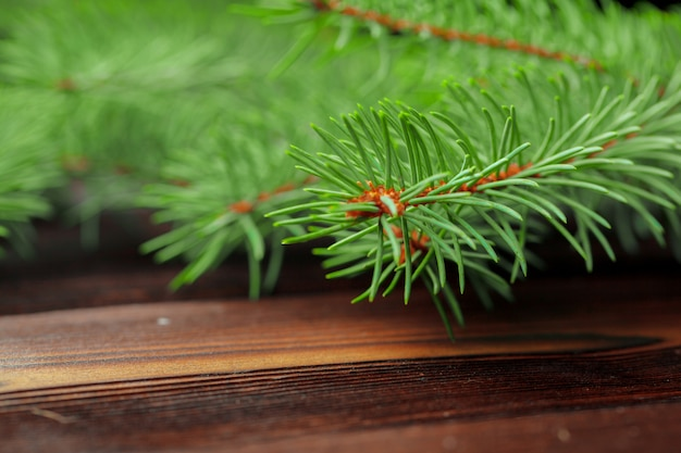 Christmas composition with fir tree branches on wooden background.
