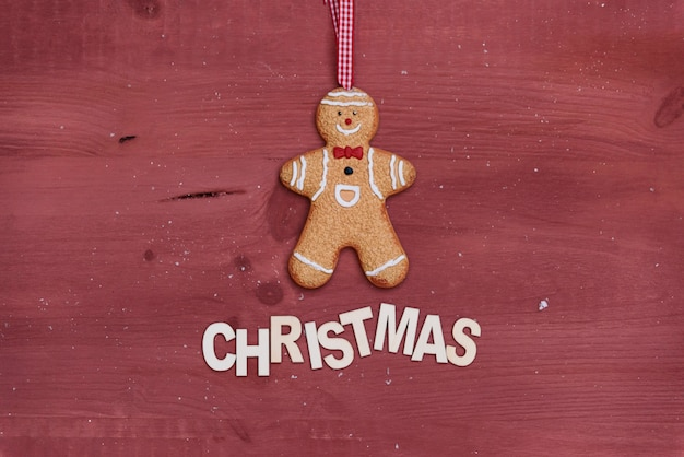 Christmas composition with gingerbread man