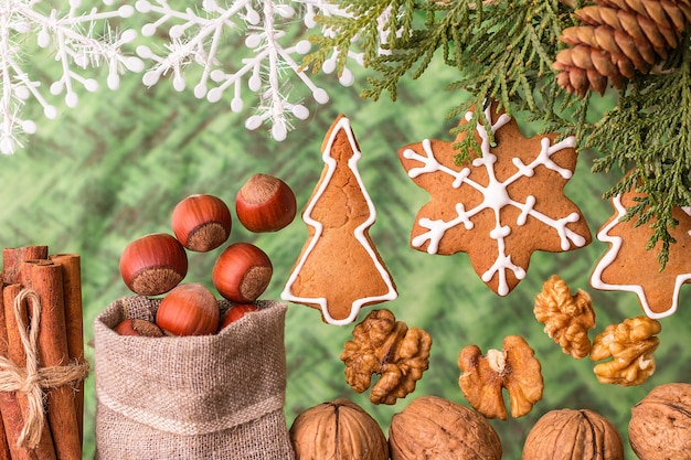 Christmas composition with gingerbread and nuts