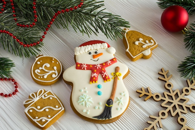 Christmas composition with gingerbread
