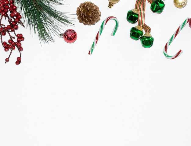 Christmas composition with green bells and ornaments