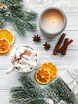 Christmas composition with hot chocolate and decorations