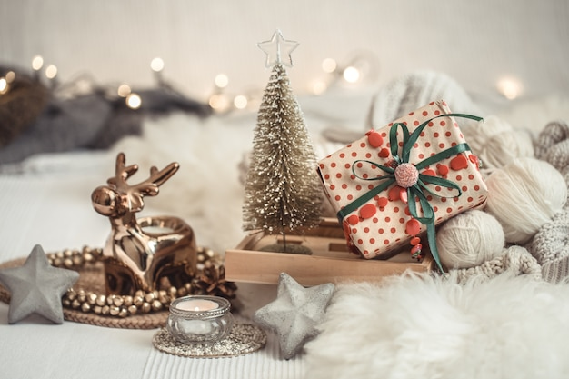 Christmas composition with ornaments