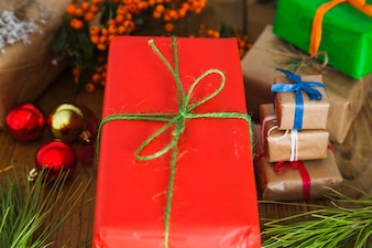 Christmas composition with red gift box
