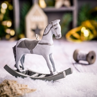 Christmas composition with rocking horse