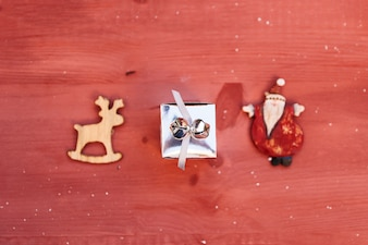 Christmas composition with small gift box