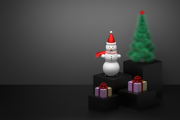 Christmas composition with snowman, gifts and christmas tree on pedestals