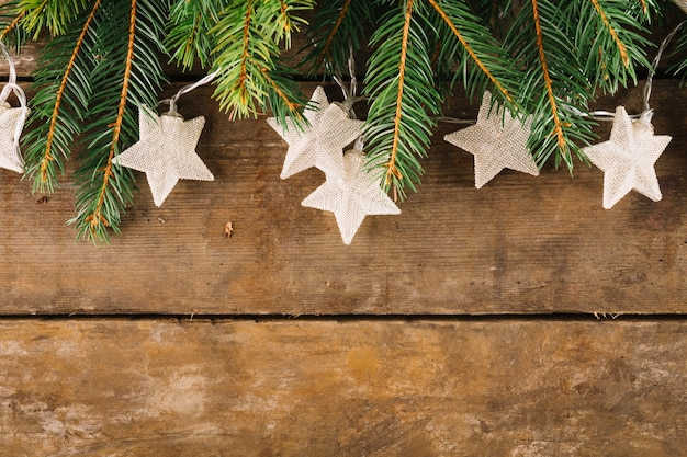 Christmas composition with stars and fir