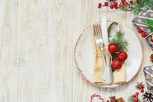 Christmas composition with table setting