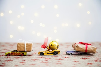 Christmas composition with toy cars