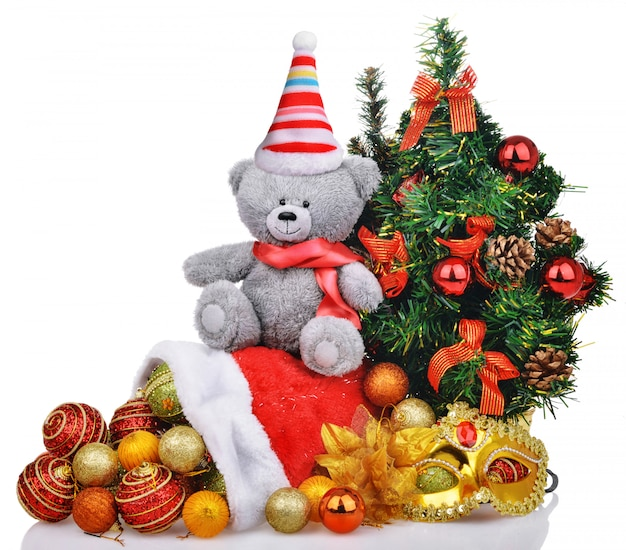 Christmas composition with toys and gifts