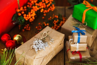 Christmas composition with various gift boxes