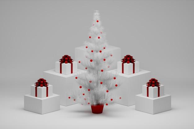 白いクリスマスツリーとキューブに赤いリボンのギフトボックスを提示するクリスマスの構成