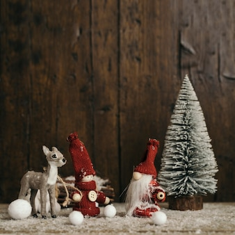 Christmas composition with wooden background and copy space