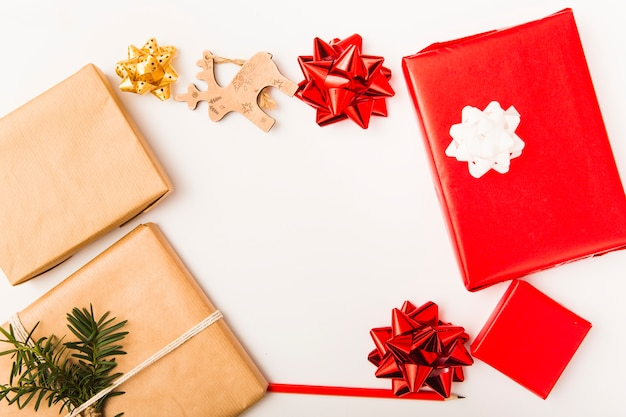 Christmas composition with wrapped boxes and colorful bows