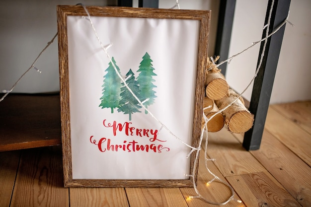 フレームのクリスマスコンセプトの装飾レタリング