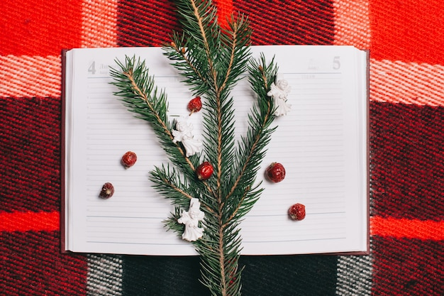 赤い背景にクリスマスのconcept.notebook