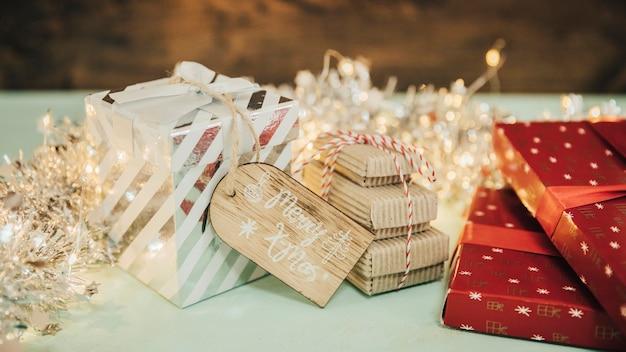 다양 한 선물 상자 크리스마스 컨셉
