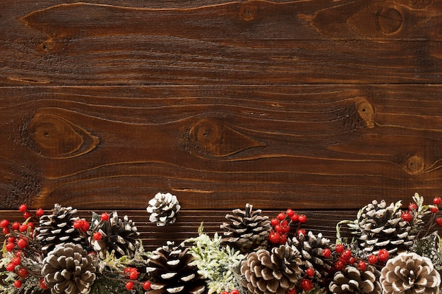 Christmas concept on wooden table with copy space