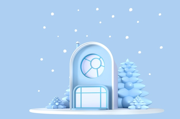 크리스마스 콘서트. 눈이 내리는 파란색 배경에 축제 양식의 눈 덮인 전나무가 있는 파스텔 색상의 추상 만화 작은 집