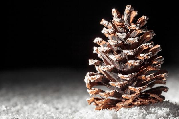 雪の中のクリスマスコーン